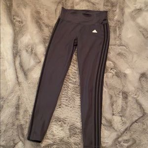Adidas black on black striped athletic pants